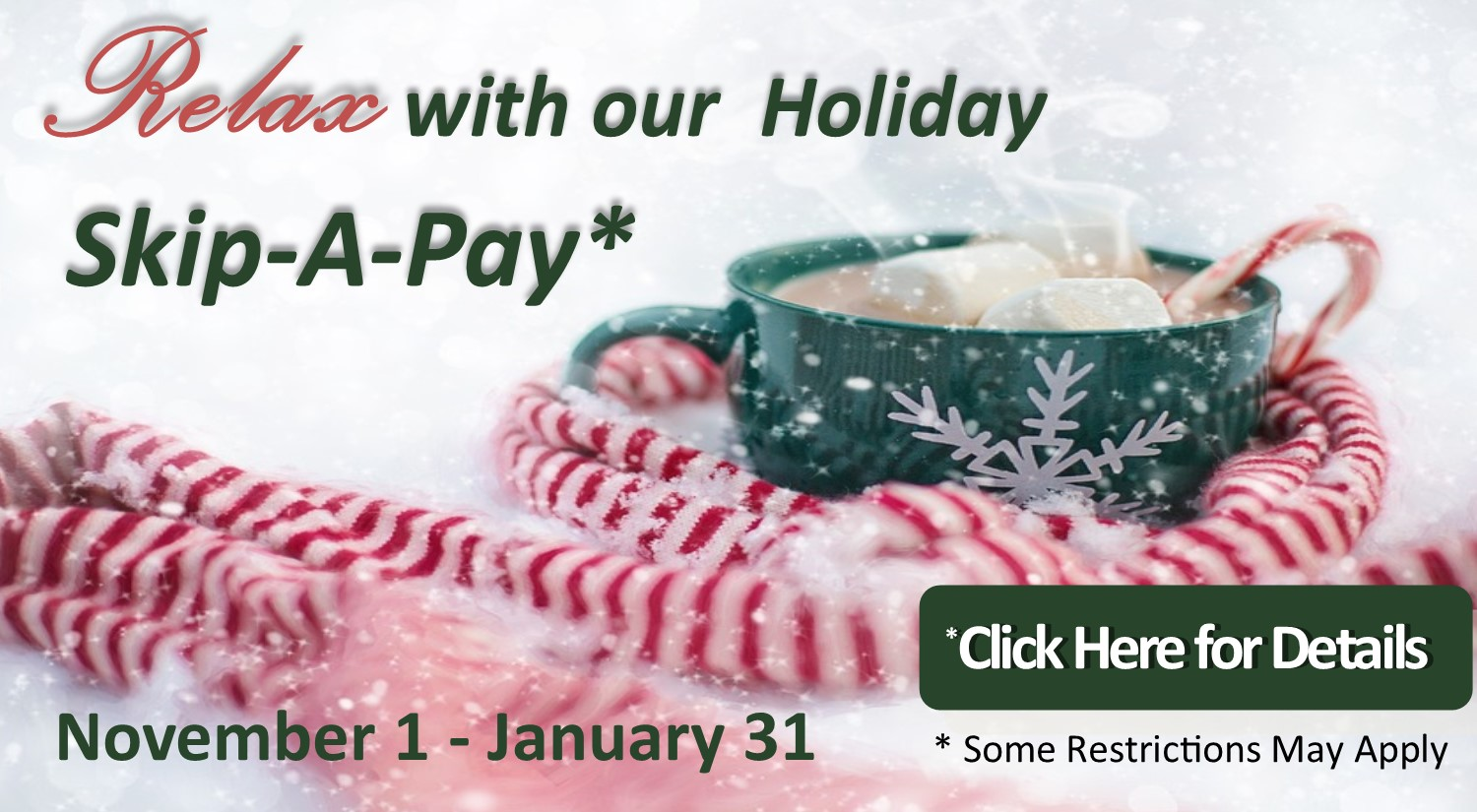 Let us help you stretch your budget this Holiday Season with a Skip-A-Payment!