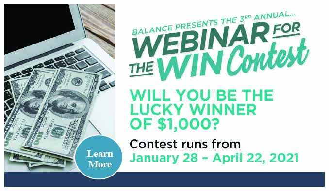 The Annual Balance Webinar for the Win Contest!